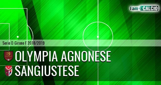 Olympia Agnonese - Sangiustese 0-0. Cronaca Diretta 03/11/2018