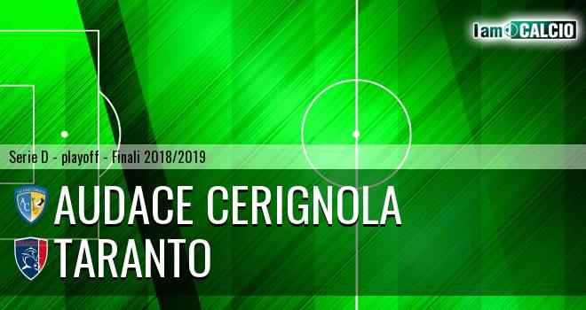 Audace Cerignola - Taranto 5-1. Cronaca Diretta 19/05/2019