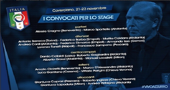 Italia verso lo stage: i 22 convocati di Ventura