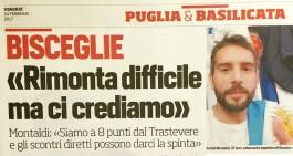 """Bisceglie, Montaldi ci crede: """"Rimonta sul Trastevere possibile"""""""