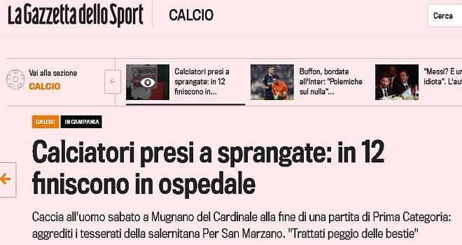 Carotenuto-San Marzano: la rissa finisce su La Gazzetta dello Sport