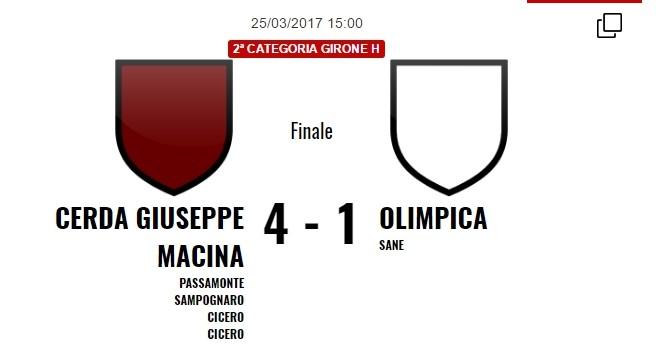 2^H, il Cerda batte l'Olimpica 4 -1. Domani Aragona Sommatinese