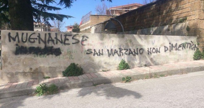 """""""San Marzano non dimentica"""": slogan intimidatorio a casa Annunziata"""