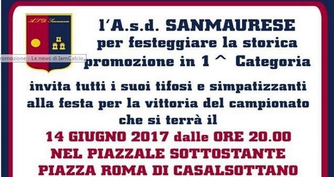 La Sanmaurese invita i tifosi: stasera festa per la promozione