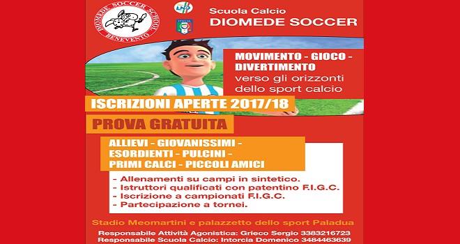 Diomede Soccer School. Al via le attività per i bimbi dai 5 anni