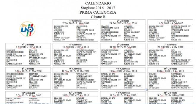 Ecco il calendario di Prima B