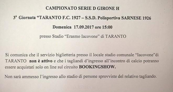 Il comunicato del Taranto