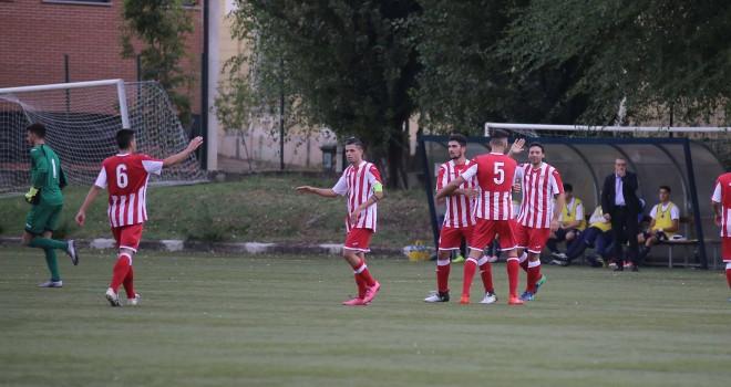 L'esultanza al gol di Palomba