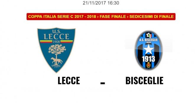 Lecce-Bisceglie: le formazioni ufficiali della gara di Coppa