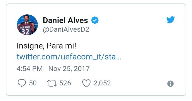 Dani Alves vota Insigne e il Napoli ringrazia