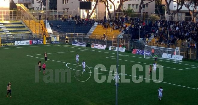 Juve Stabia-Catania 0-1, rosso azzurri avanti al 93' col minimo sforzo