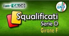 Serie D - Girone F: sette i calciatori fermati dal Giudice Sportivo