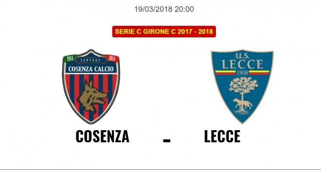 Cosenza-Lecce: le formazioni ufficiali