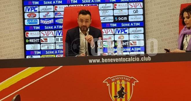 """Benevento. De Zerbi: """"Turn-over obbligato viste le 3 gare in 6 giorni"""""""
