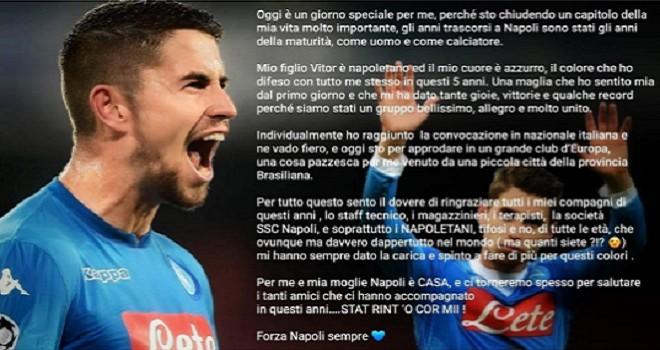 """Jorginho, commovente lettera d'addio: """"Napoli? Stat rint o'cor mì"""""""
