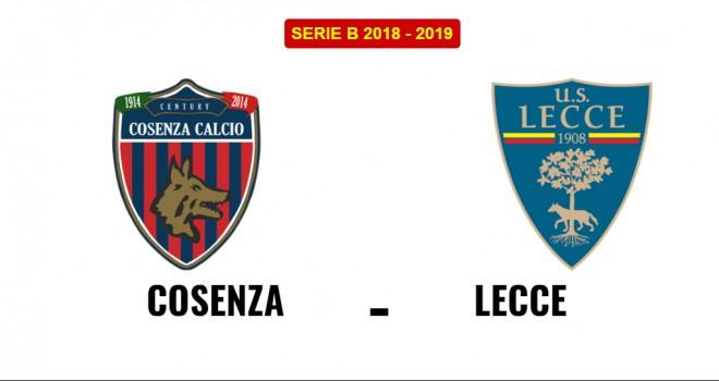 Cosenza-Lecce, formazioni ufficiali
