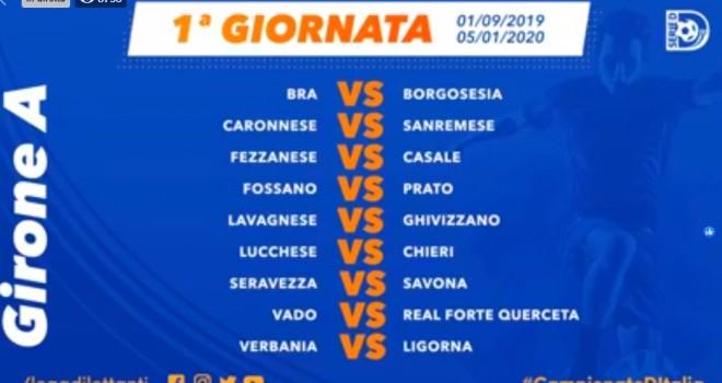 Serie D, svelato il calendario del girone A