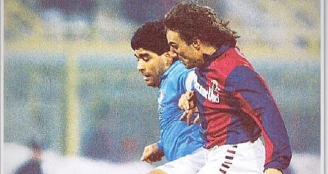 Maradona e Mariani in Bologna-Napoli