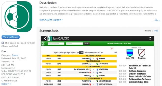 L'APP ufficiale per iOS di IamCALCIO, segui le dirette insieme a noi