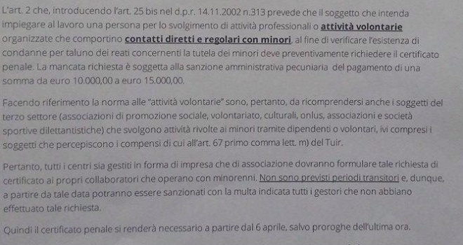 Dal 6 aprile obbligo di certificato penale per il settore giovanile